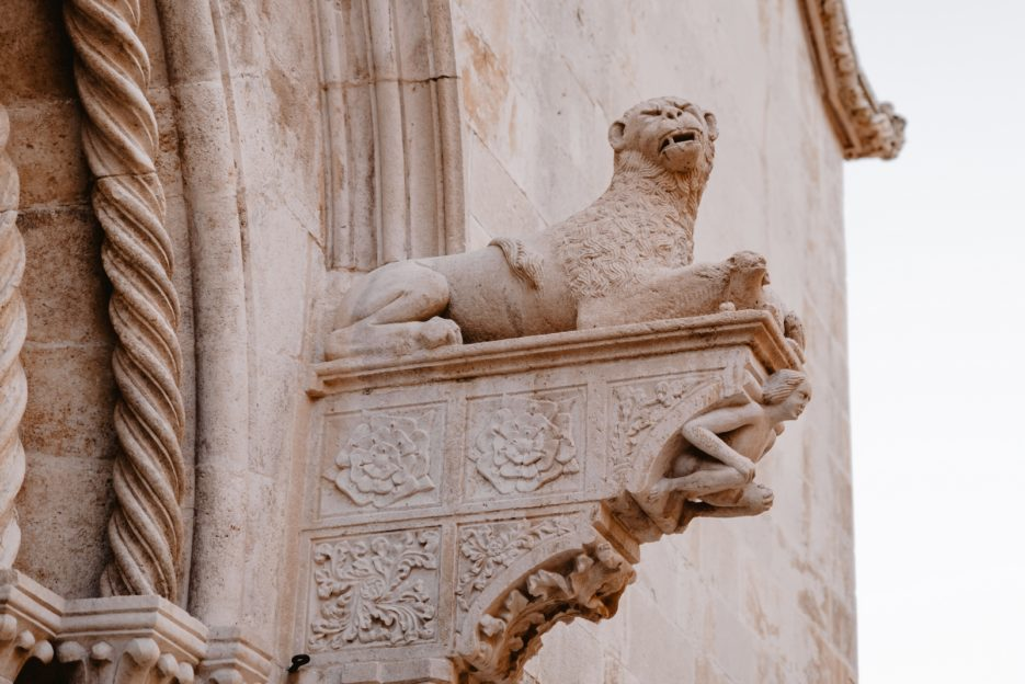 Stone lion on the facade of St. Mark's Cathedral, Korčula Town, Croatia