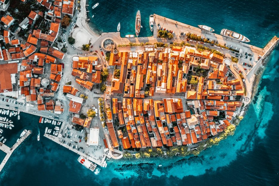 Korčula, Croatia - the aerial drone photo