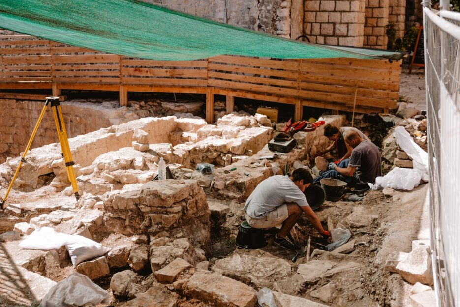 Archaeologists working in Korčula Old Town, Croatia