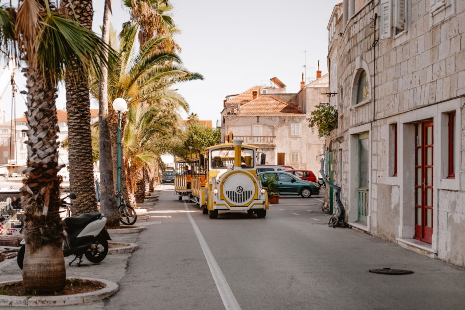 If you are tired of sightseeing, the best things to do is to catch a yellow train that will take you around Korčula