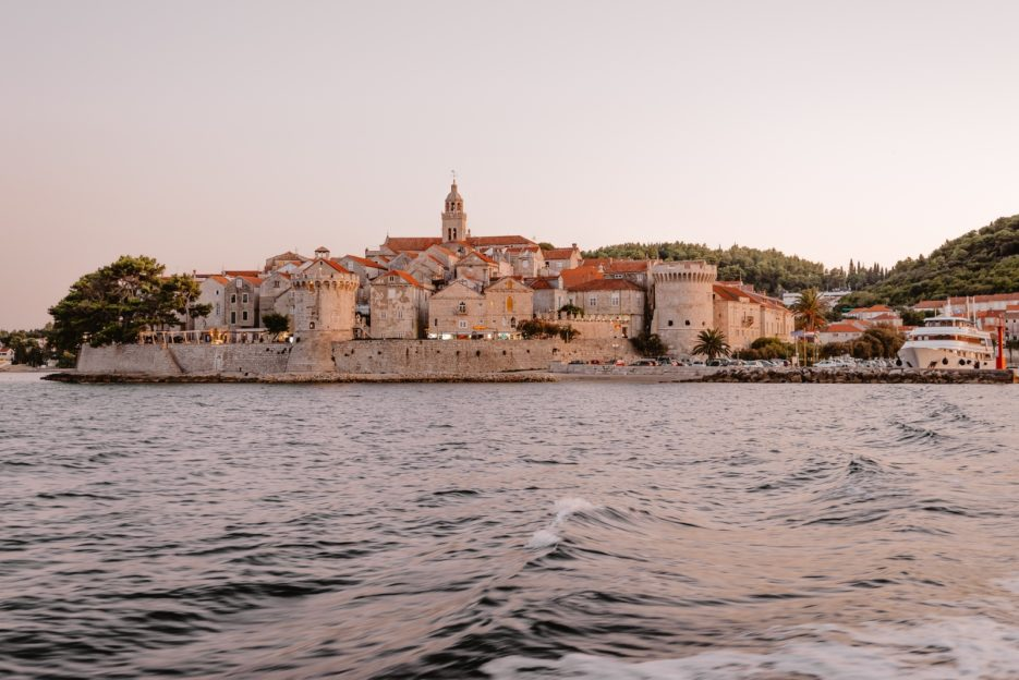 Korčula Old Town at sunset seen from the Tamaris foot passenger ferry
