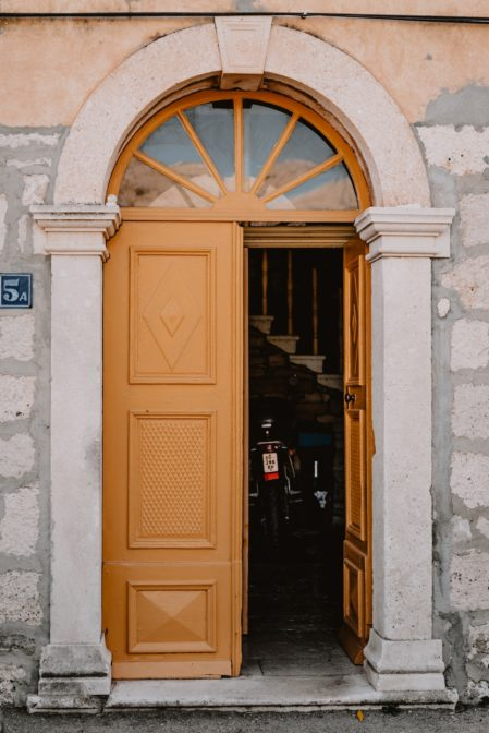 Many buildings in Korčula Town have interesting colorful doors