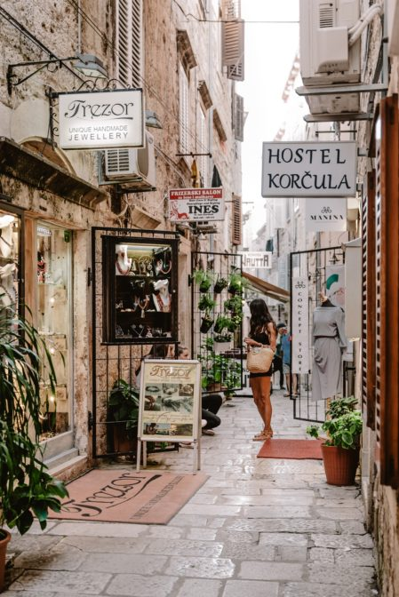 Visiting jewelry stores and some nice boutiques is one of the top things to do in Korčula Old Town, Croatia