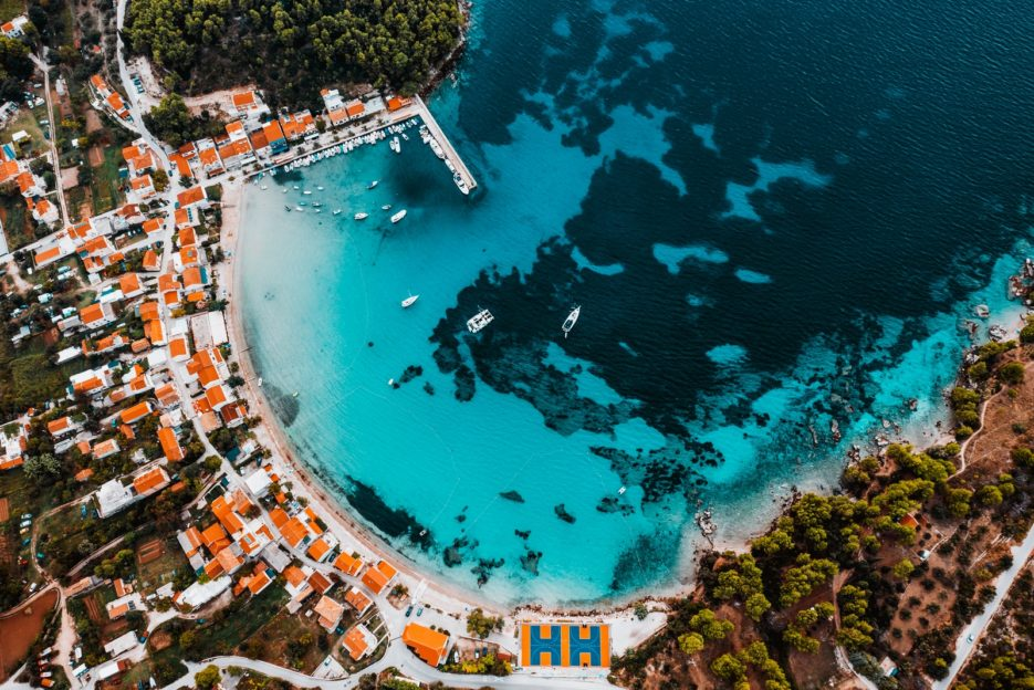 The sea in Žuljana Bay has beautiful teal color
