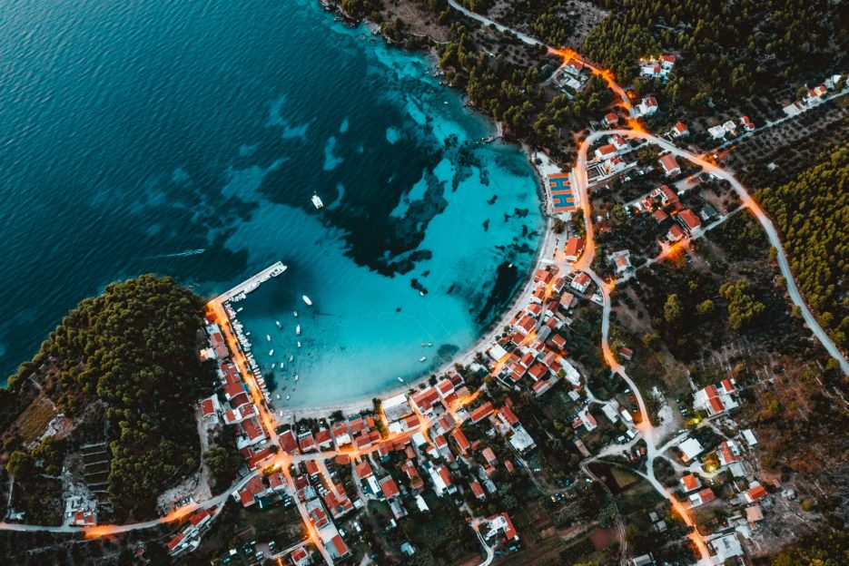 The aerial photo of Žuljana, Pelješac, Croatia