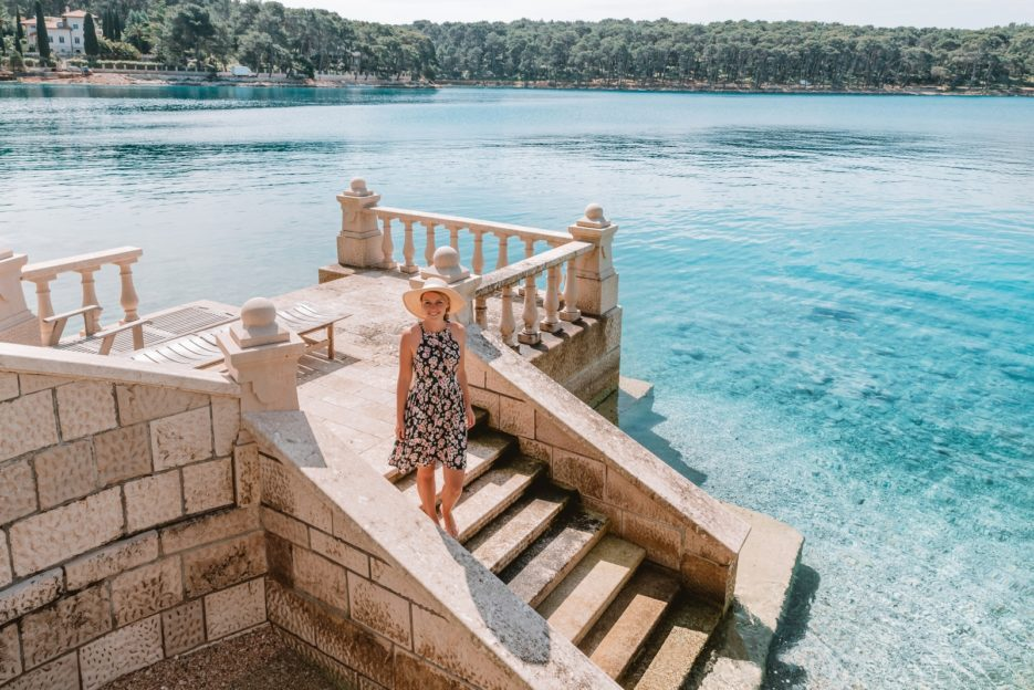 The stairs to the sea in front of the villa of Emperor Franz Josef in the Čikat Bay, Mali Lošinj, Croatia
