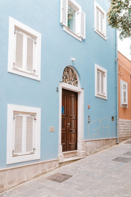 Colorful townhouses in Mali Lošinj, Croatia