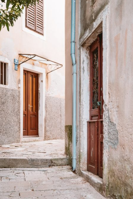 In the narrow streets of Mali Lošinj, Croatia