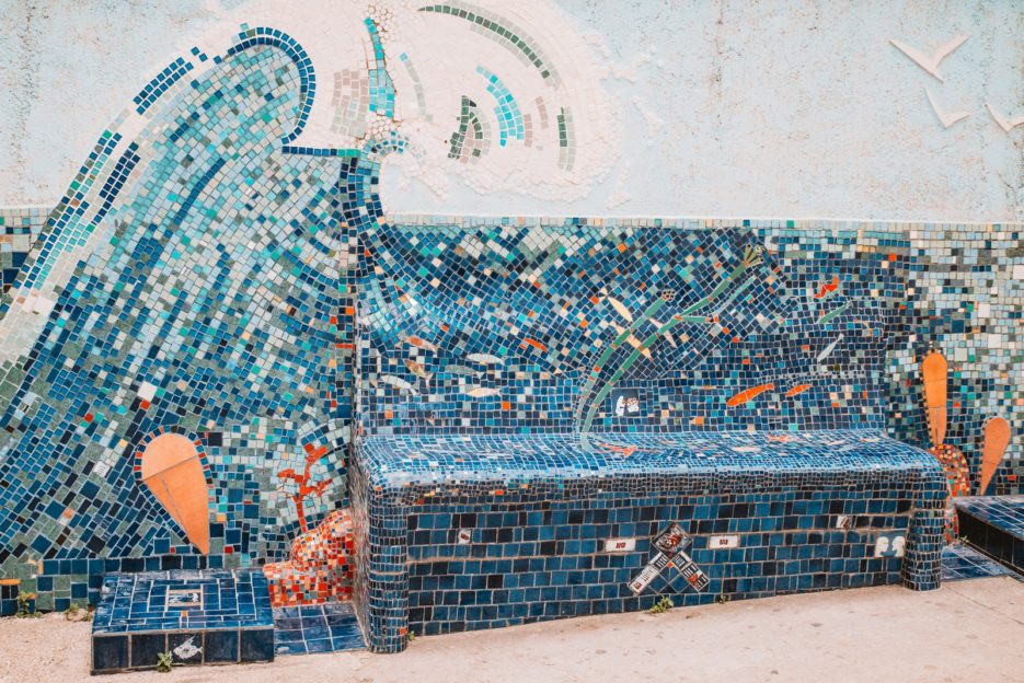 Mosaic bench hidden in the streets of Mali Lošinj, Croatia