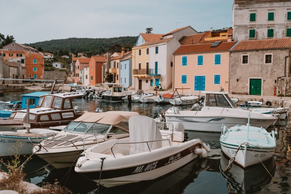 The fishing port of Rovenska in Veli Lošinj, Croatia
