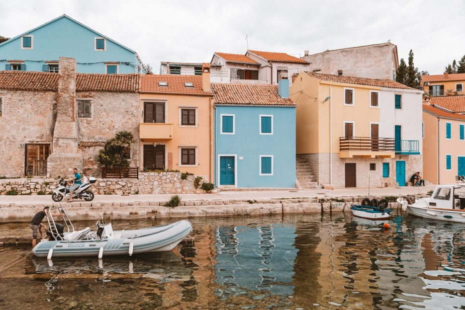 Colorful houses in Rovenska fishing port, Veli Lošinj, Croatia