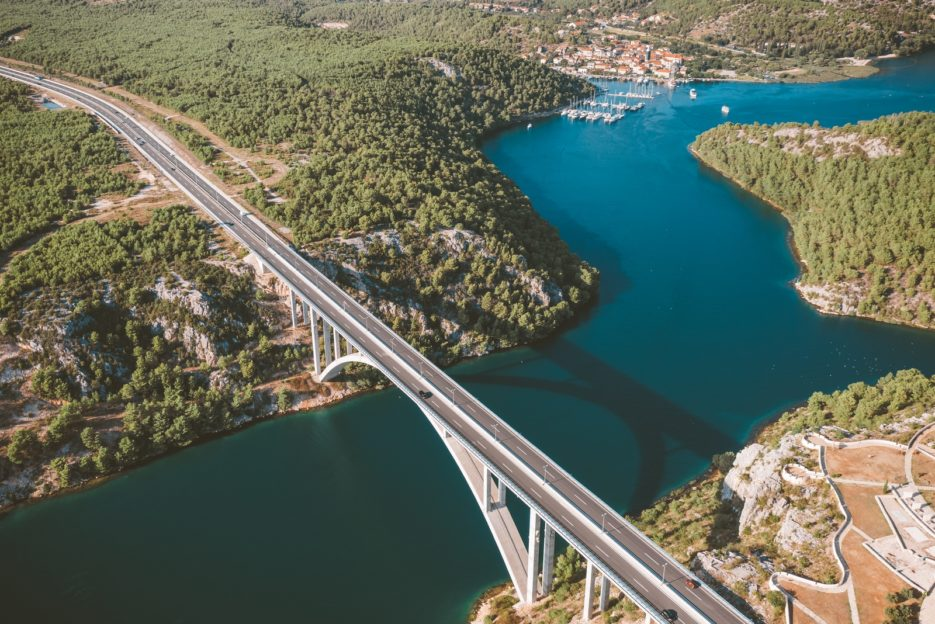 Krka Bridge near Skradin, one of the most scenic spots along the Croatian highway