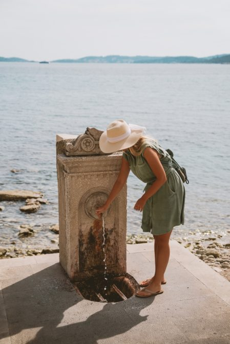 Orebić, Croatia - drinking fountain on the waterfront