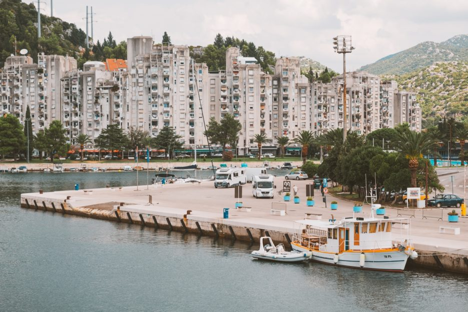 Ploče, Croatia - concrete blocks of flats on the waterfront
