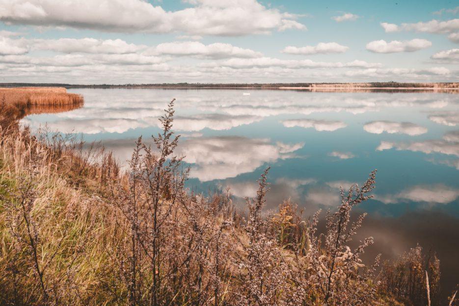 Cloud reflections on Lake Świerklaniec (Kozłowa Góra water reservoir), Upper Silesia, Poland